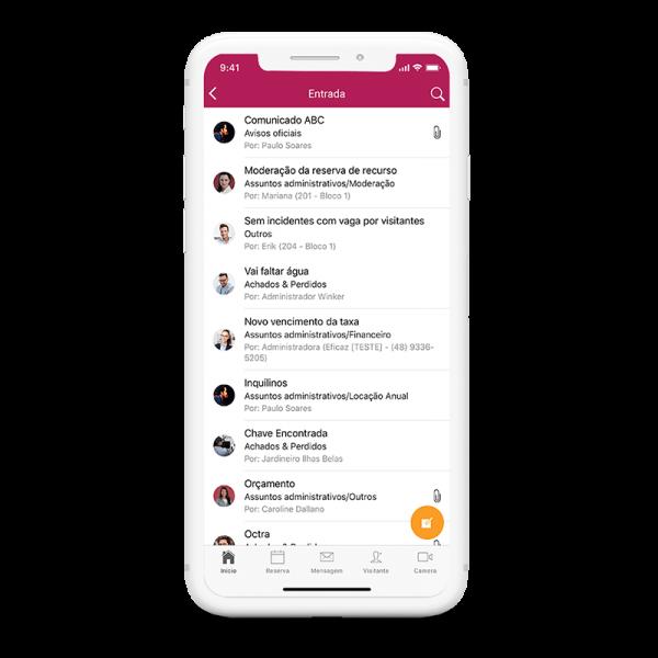 tela aplicativo winker módulo mensagens
