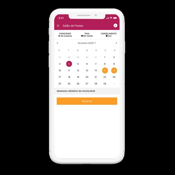 tela aplicativo winker módulo reservas